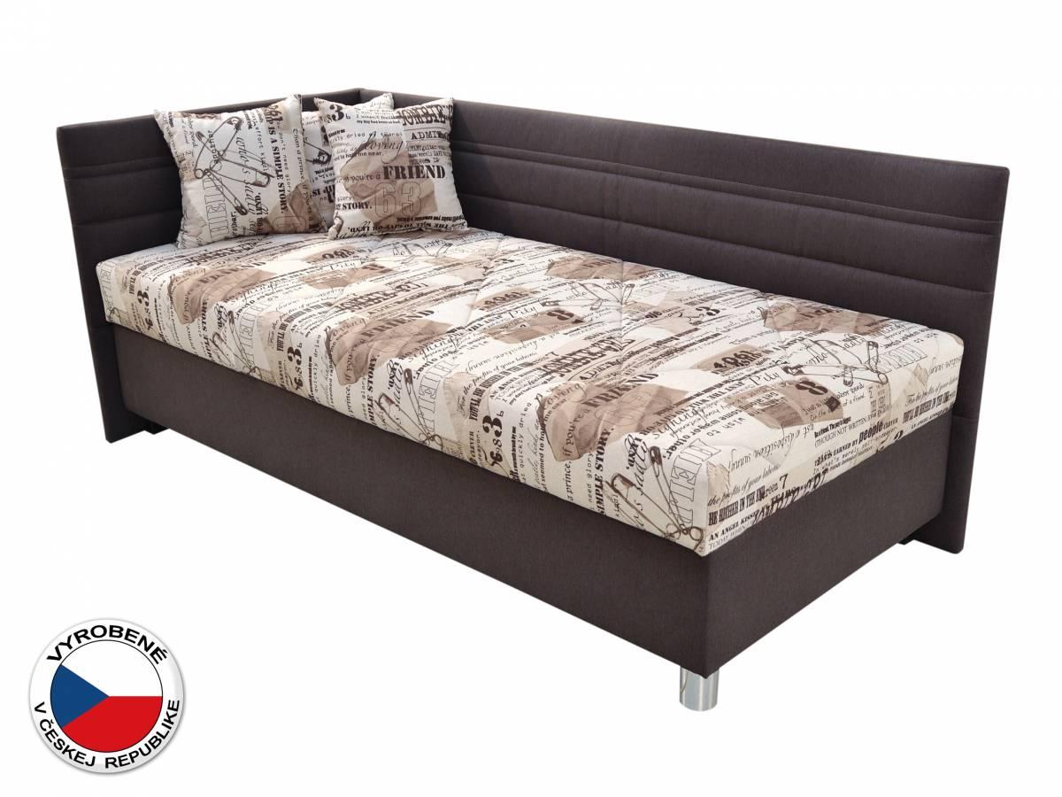 Jednolôžková posteľ 90 cm Blanár Polly (béžová + hnedá) (s roštom a matracom) (L)