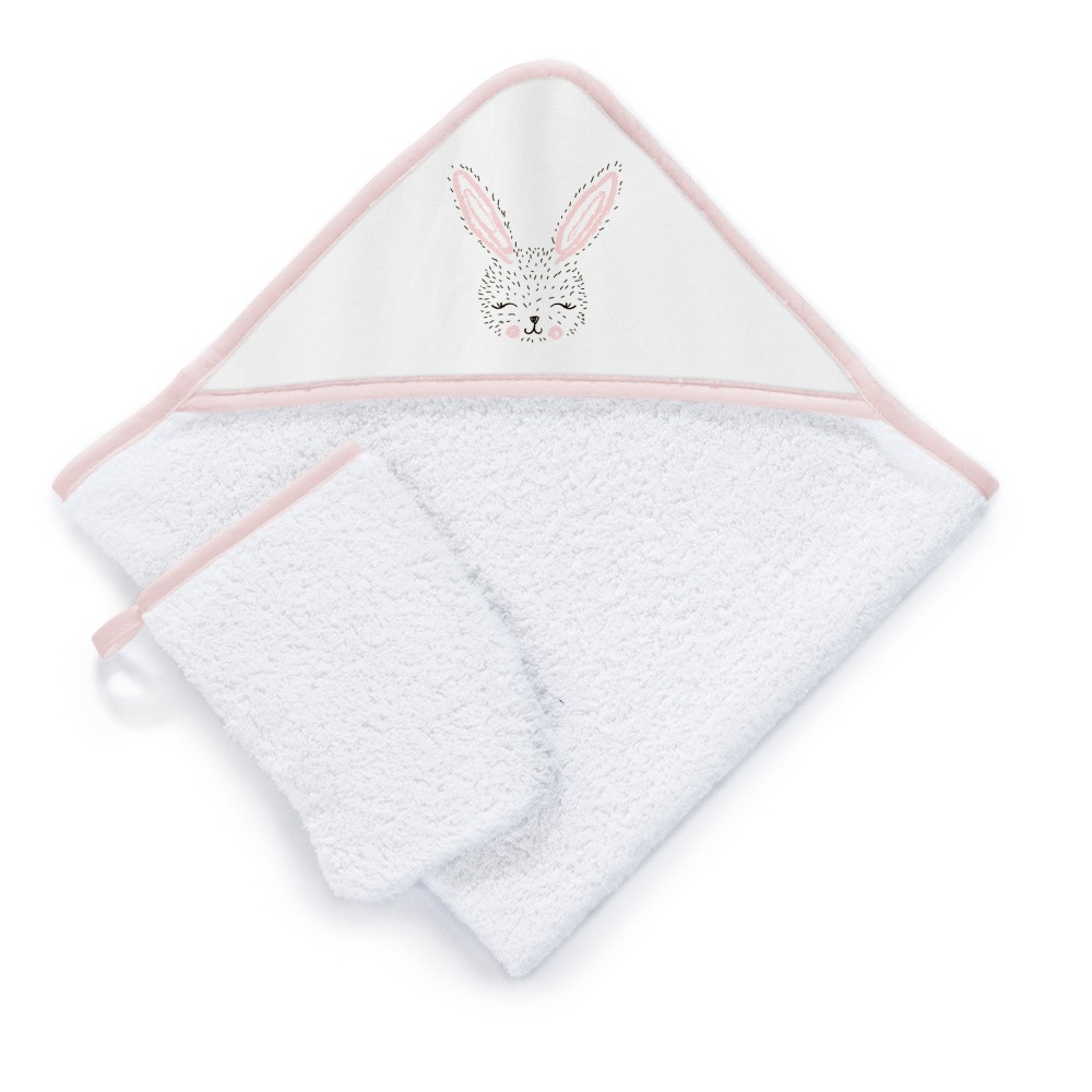 Set detskej osušky s kapucňou a rukavice na umývanie Tanuki Cute Rabbit, 75×75cm
