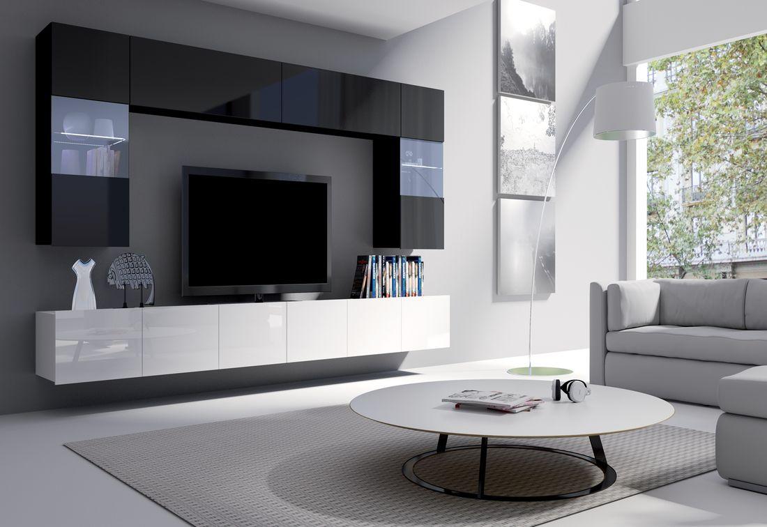 Obývacia zostava BRINICA NR1, čierna/čierny lesk + biela/biely lesk + modrý LED