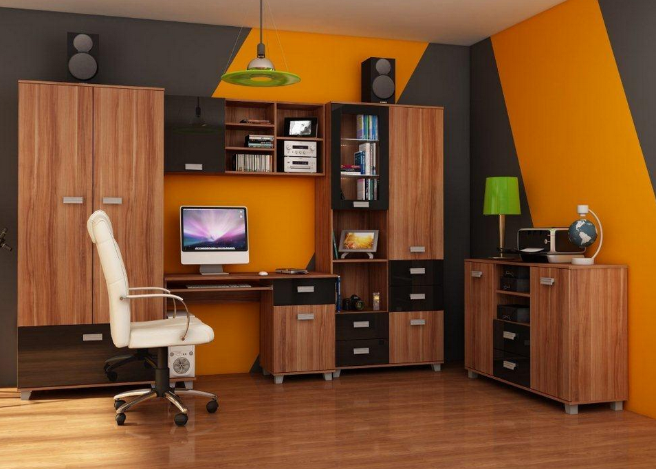 Študentská izba SOLO II   Farba: Slivka / čierny lesk