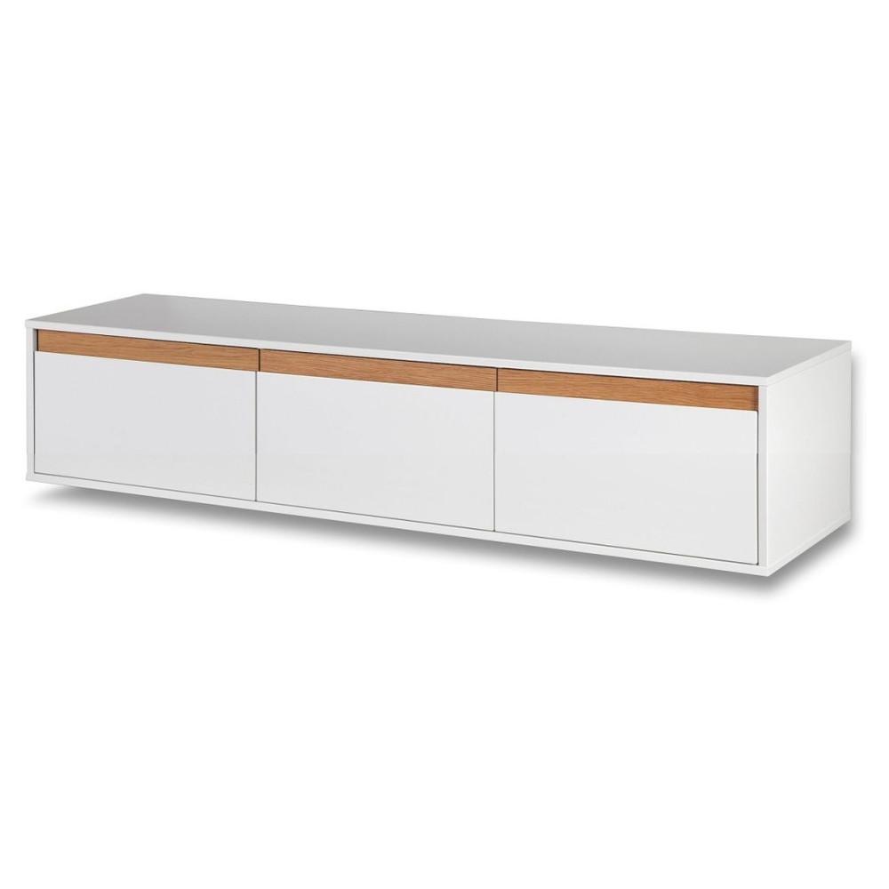 Biela nástenná TV komoda s drevenými detailmi Dřevotvar Ontur 02