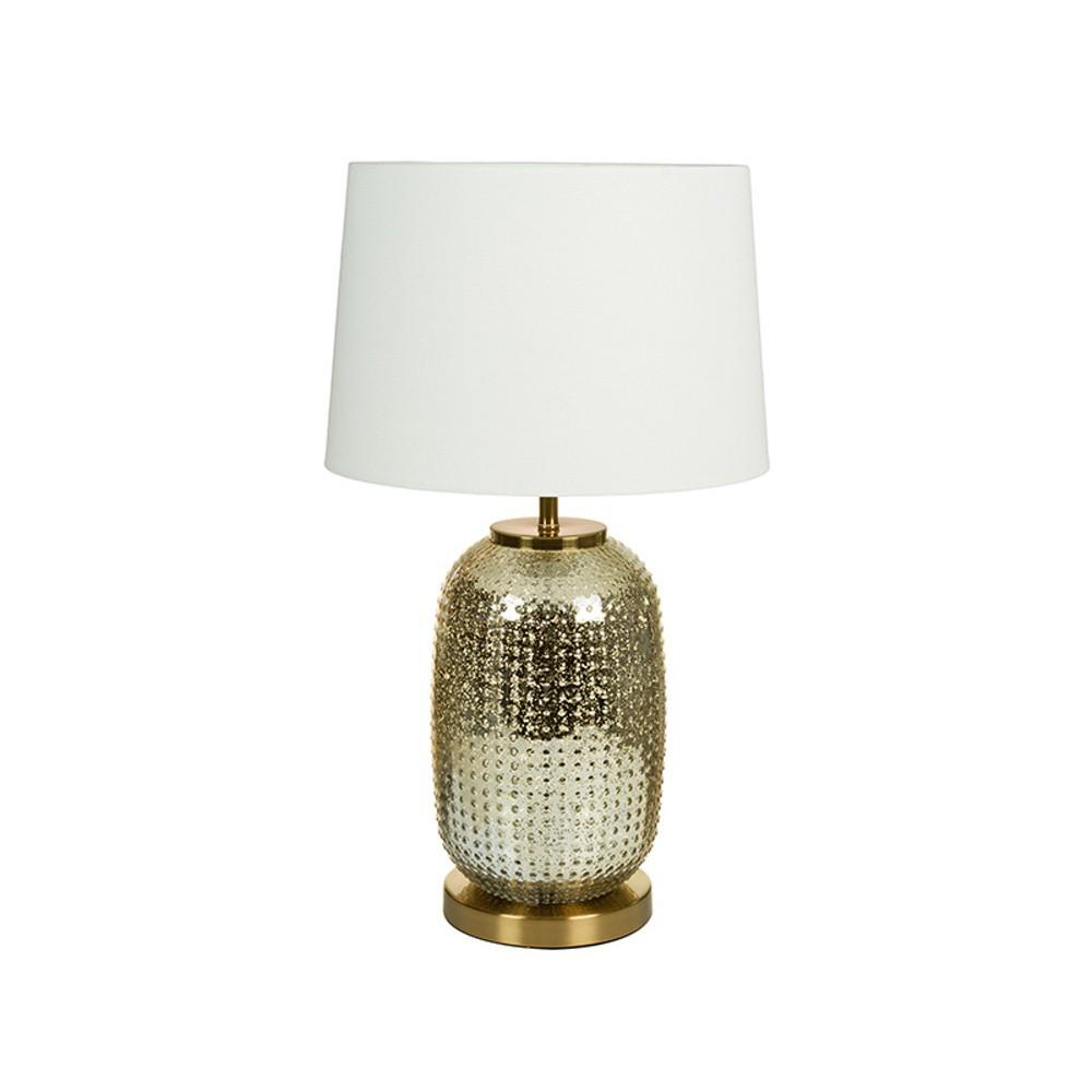 Biela stolová lampa so základňou v zlatej farbe Santiago Pons Crystal
