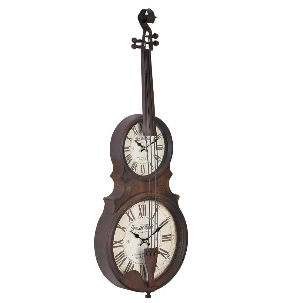[en.casa]® Nástenné hodiny v tvare sláčikového hudobného nástroja - analógové - 47 x 6 x 62 cm - farebné - sklo