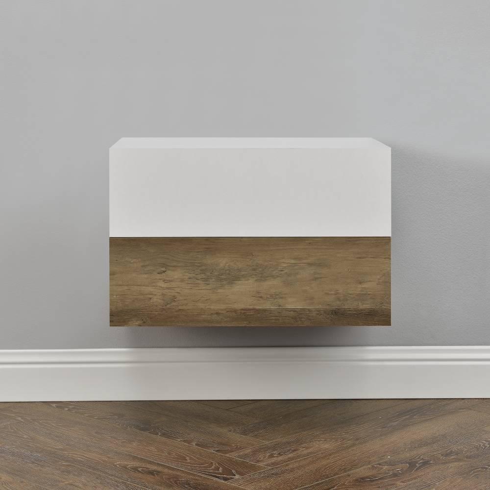 [en.casa]® Nočný stolík na stenu - dvojkombinácia - drevo/matná biela