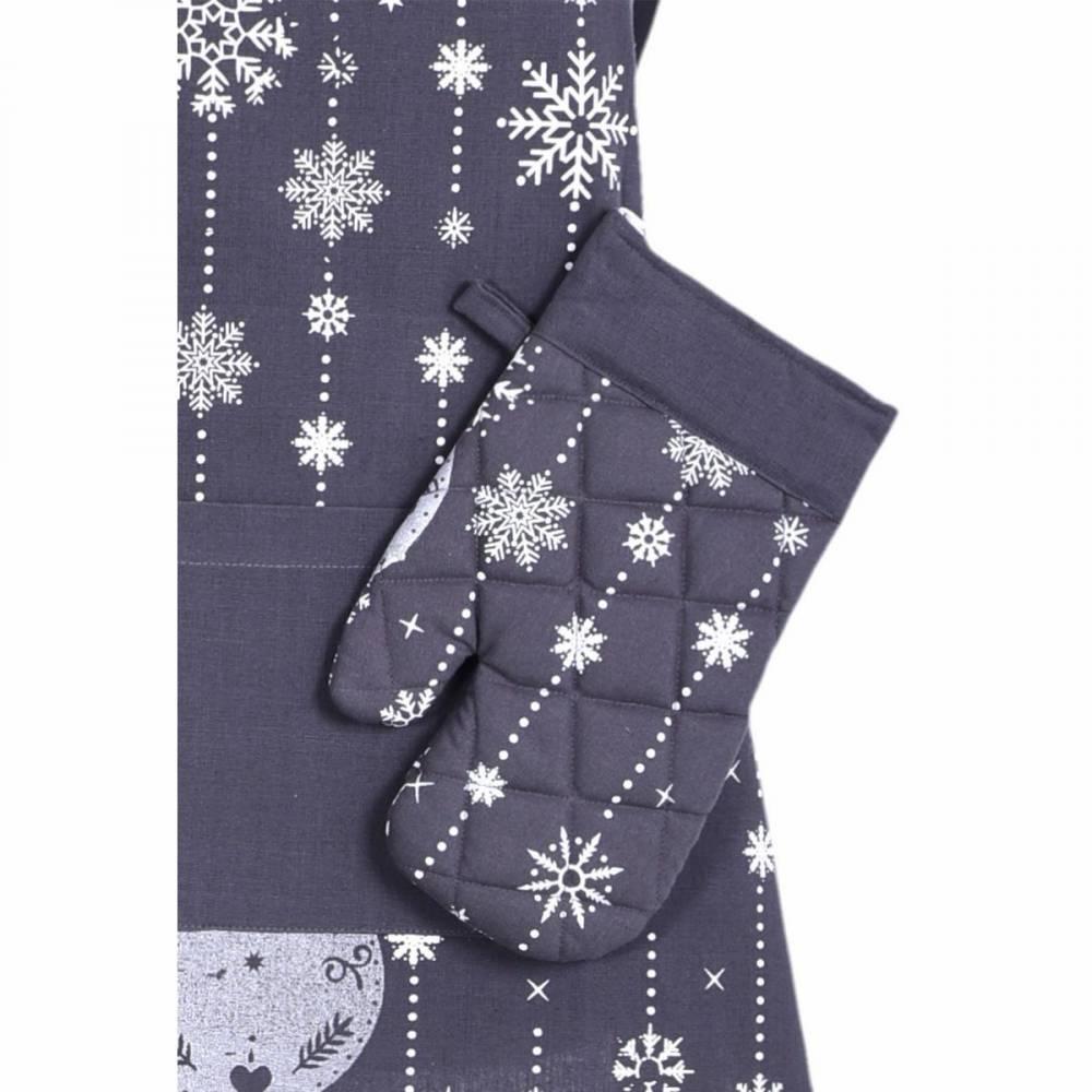 Forbyt Vianočná chňapka Vianočné ozdoby sivá,18 x 28 cm