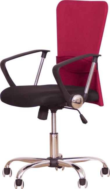 Kancelárske kreslo s čiernym sedákom, červená opierka, AEX