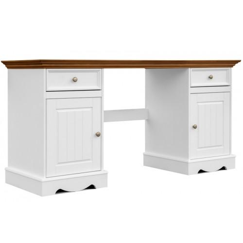 Biely nábytok Písací stôl Belluno Elegante, dekor biela-dub, masív, borovica