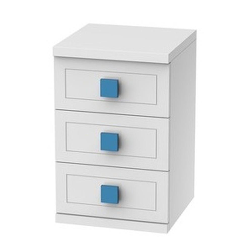Biely nočný stolík s 3 zásuvkami Trébol Mobiliario Aura