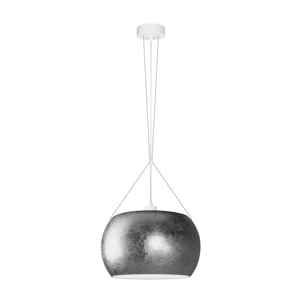 Strieborné závesné svietidlo s bielym káblom Sotto Luce Momo
