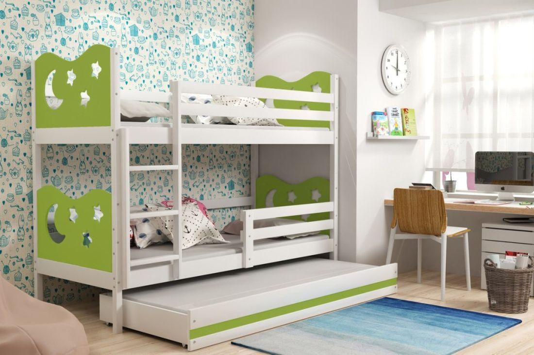 Poschodová posteľ KAMIL 3 + matrac + rošt ZADARMO, 90x200, biela/zelená