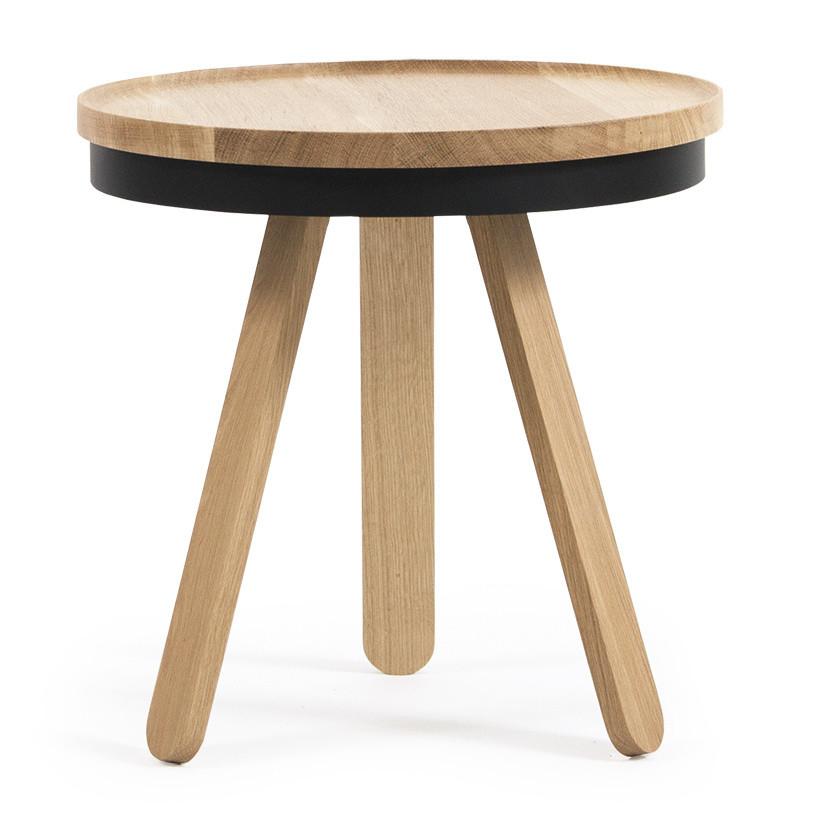 Prírodno-čierny odkladací stolík s podnosom Woodendot Batea S