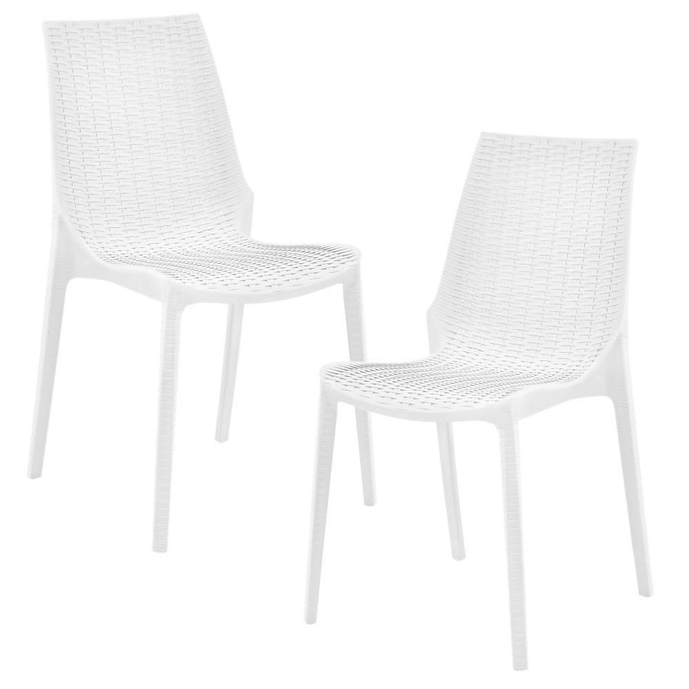 [casa.pro]® Sada záhradných stoličiek - 2 ks - 89 x 44 x 55,5 cm - biele