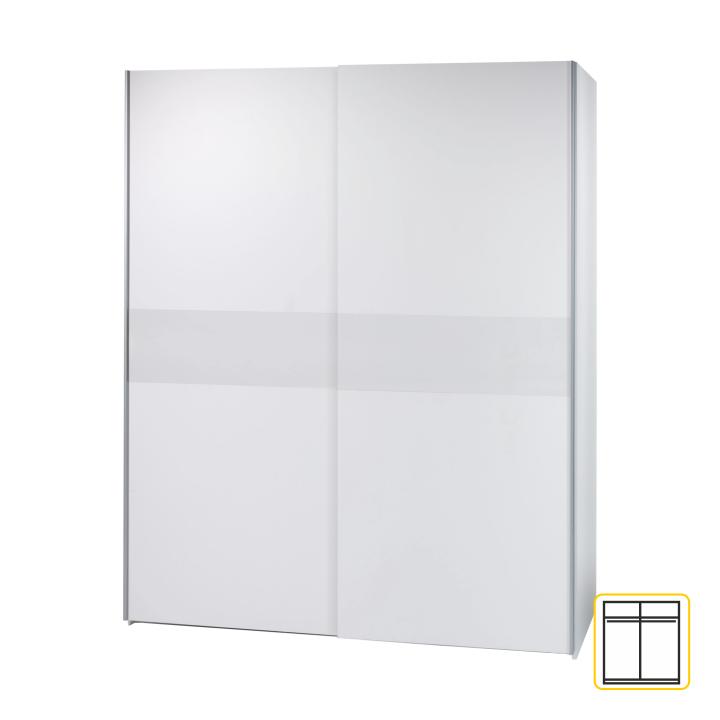 Dvojdverová skriňa, s posuvnými dvermi, biela, VICTOR 2