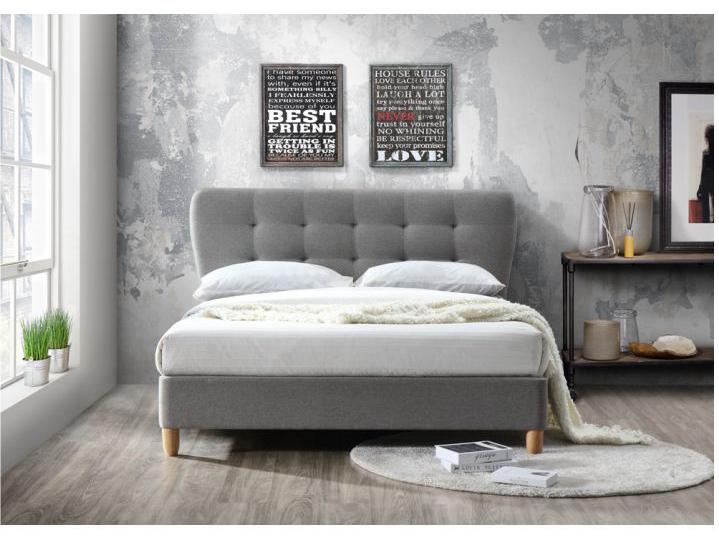 Manželská posteľ 180 cm Norika (s roštom) (sivá melír + dub)