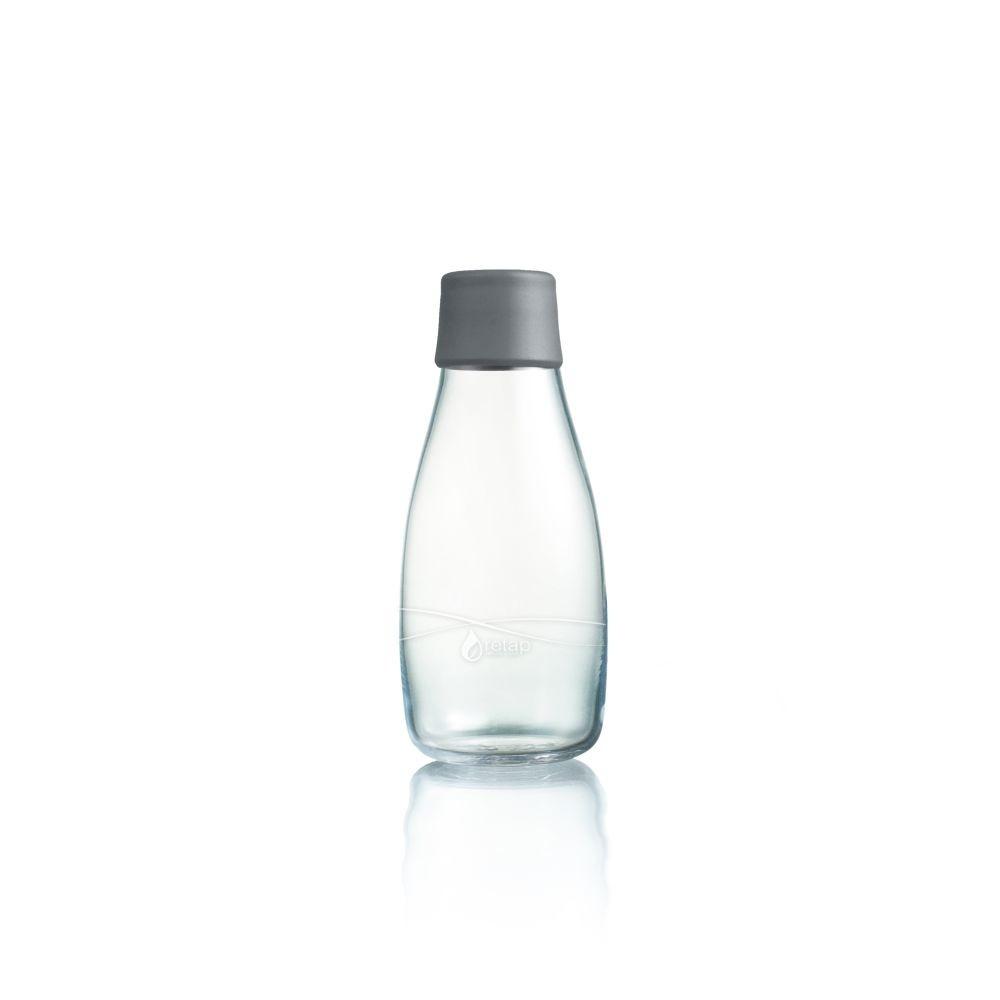 Sivá sklenená fľaša ReTap s doživotnou zárukou, 300ml