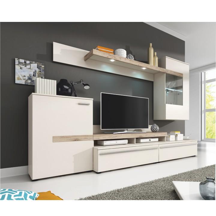 Obývacia stena, DTD laminovaná, biela/dub, COBRA