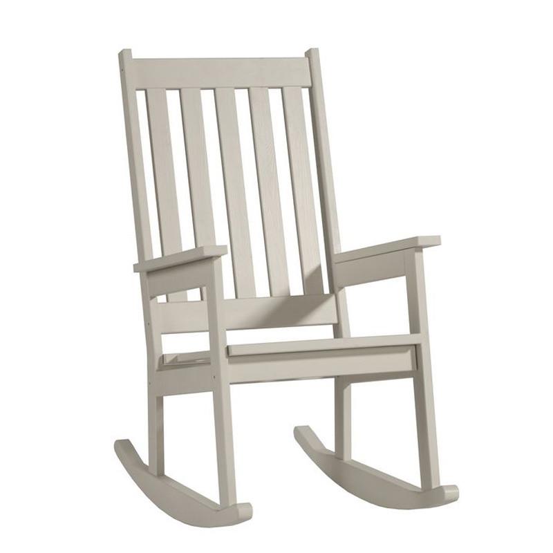 Krémová hojdacia stolička zmasívneho borovicového dreva Pinio Rock