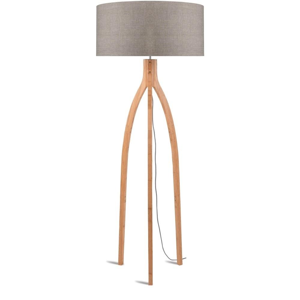 Stojacia lampa s béžovým tienidlom a konštrukciou z bambusu Good&Mojo Annapurna