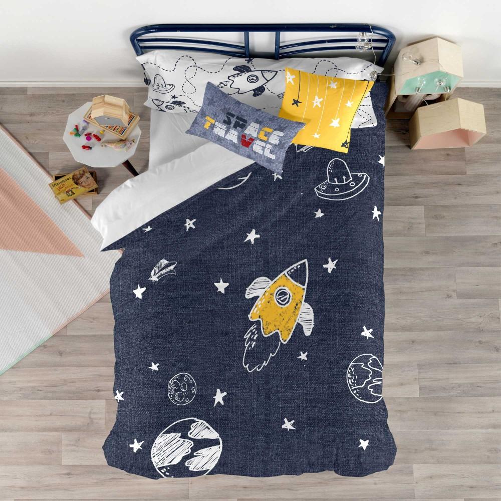 Set obliečky na prikrývku a vankúš s potlačou Baleno Starspace, 140×200 cm