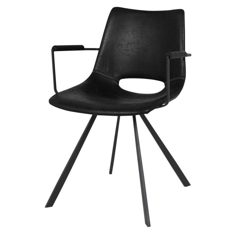Čierna jedálenská stolička s čiernym podnožím a opierkami Canett Coronas