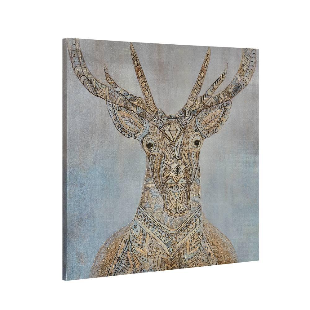 [art.work] Dekoratívny obraz na stenu - jeleň - plátno napnuté na ráme - 80x80x3,8 cm