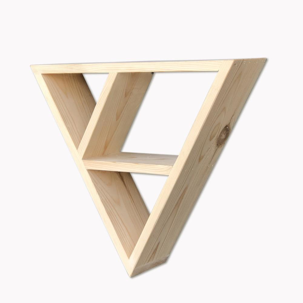 Drevená nástenná polica Simple Triangle