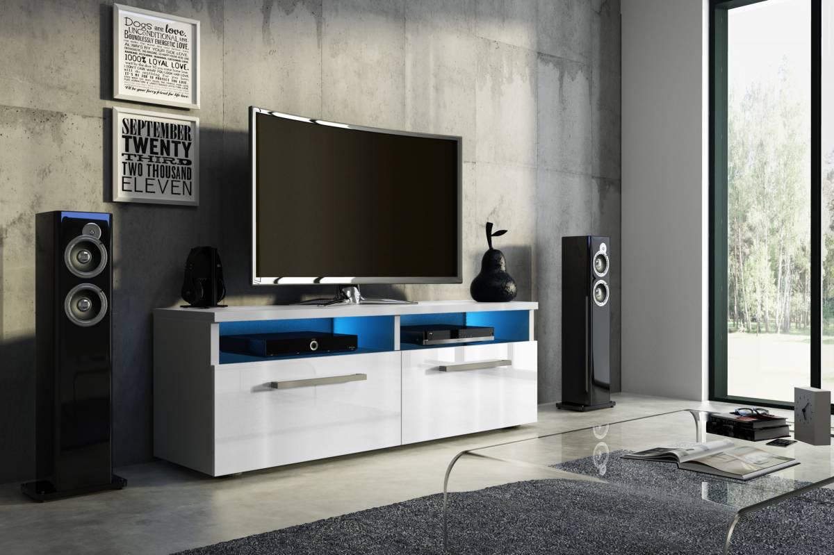 TV stolík/skrinka Bonn (biely lesk + biela matná)