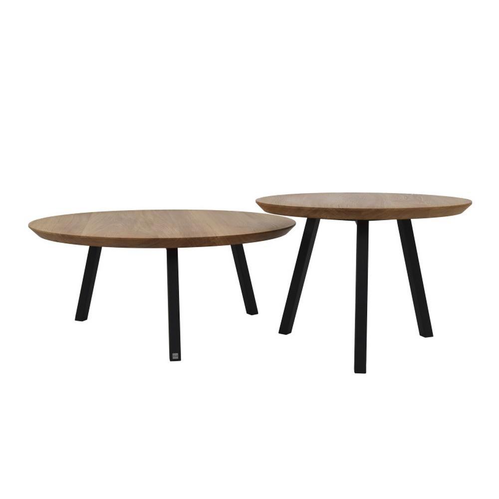 Sada 2 konferenčných stolíkov s doskou z dubového dreva Take Me HOME Narvik