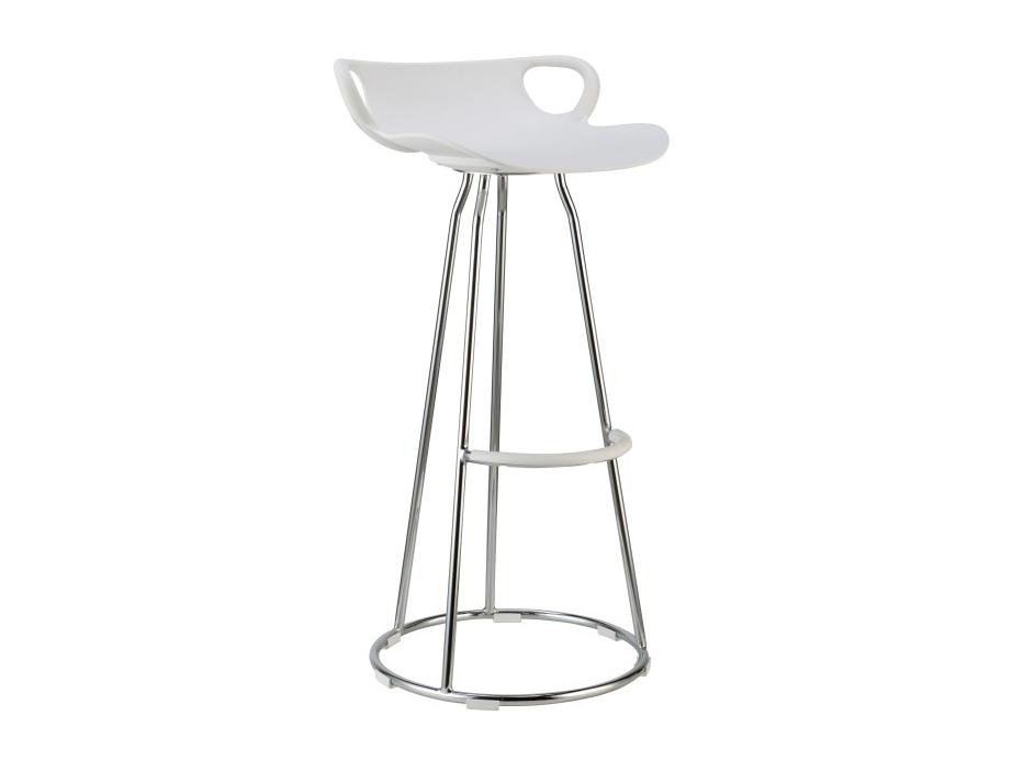 Barová stolička Gladi (biela + chróm)