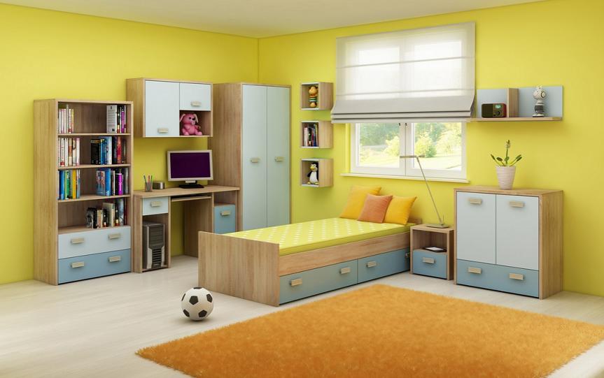 Detská izba KITTY 2   Farba: Dub sonoma svetlá / blankytná / modrá