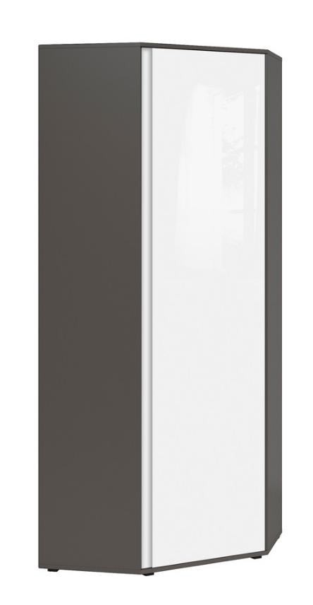Šatníková skriňa rohová Graphic SZFN1D/C   Farba: sivý wolfram / biely zrkadlový lesk