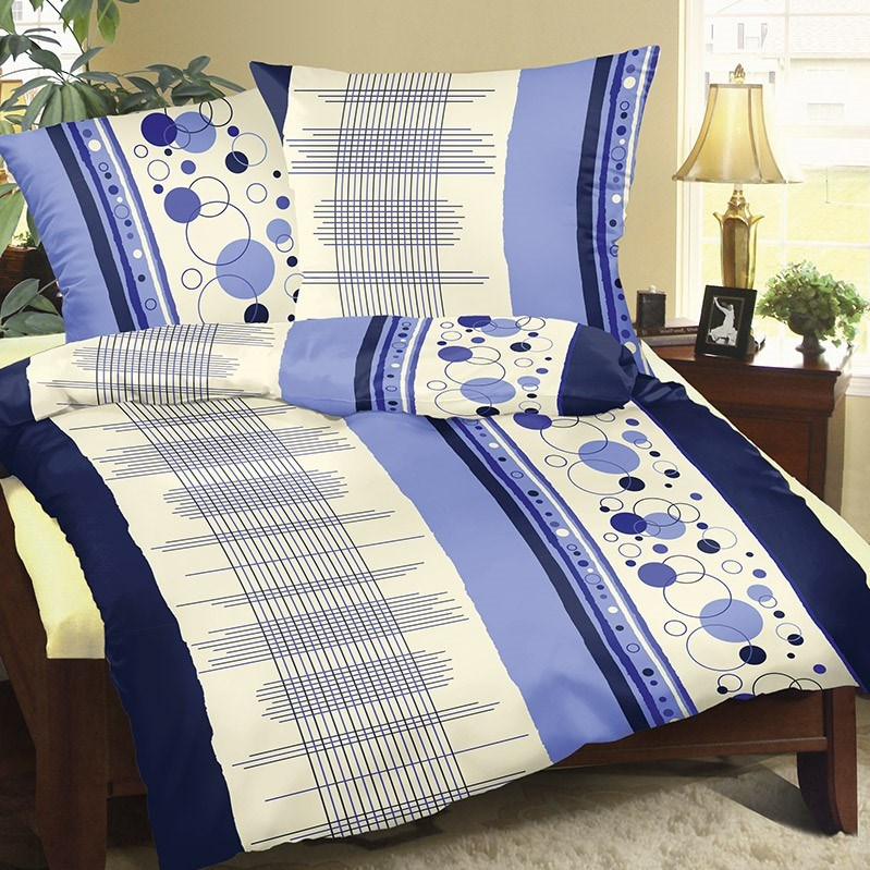 Bellatex Bavlnené obliečky Mriežka modrá, 140 x 220 cm, 70 x 90 cm