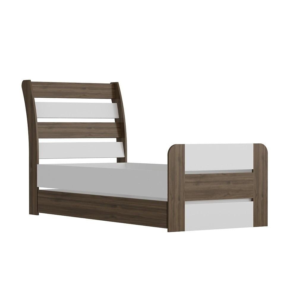 Jednolôžková posteľ Poli Walnut White, 104×201 cm