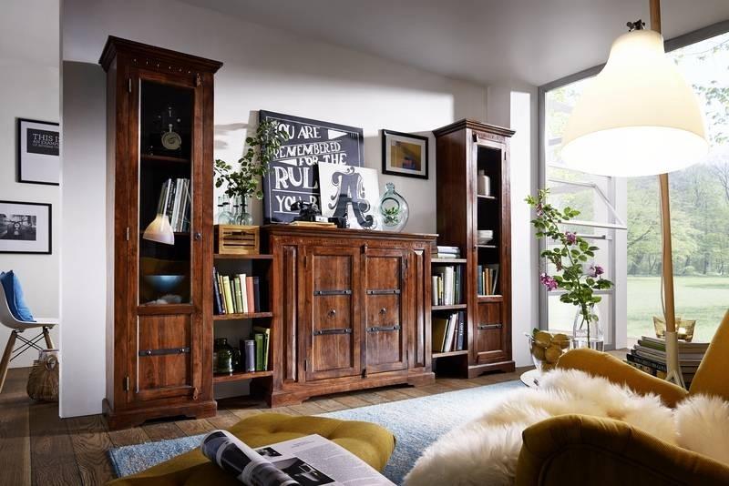 Bighome - CAMBRIDGE  Koloniálna obývacia stena, masívny akáciový nábytok