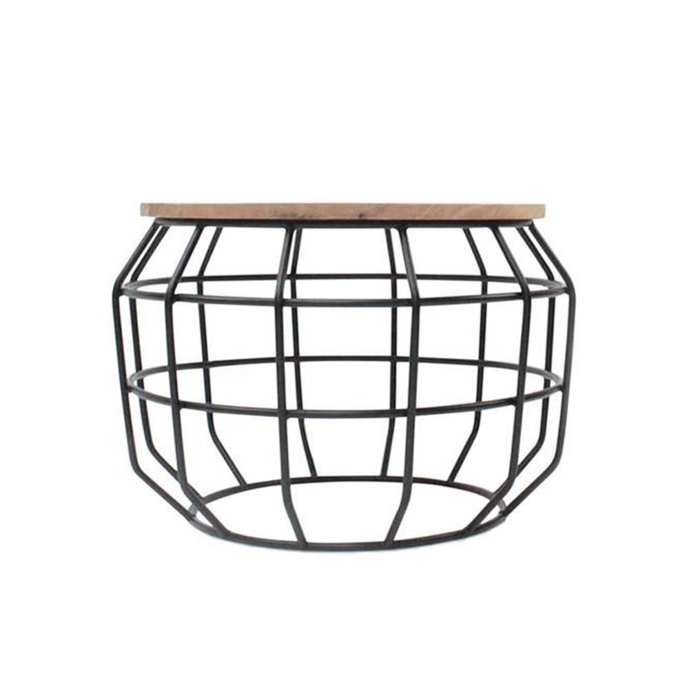 Čierny príručný stolík s doskou z mangového dreva LABEL51 Pixel, Ø 56 cm