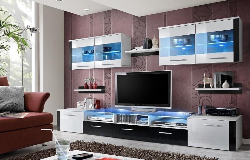 ASM ZOOM WS obývacia stena - biela / bielo-čierny vysoký lesk