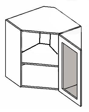 WR60W MR P/L horná rohová vitrína - mrazené sklo, vhodná ku kuchyni PREMIUM