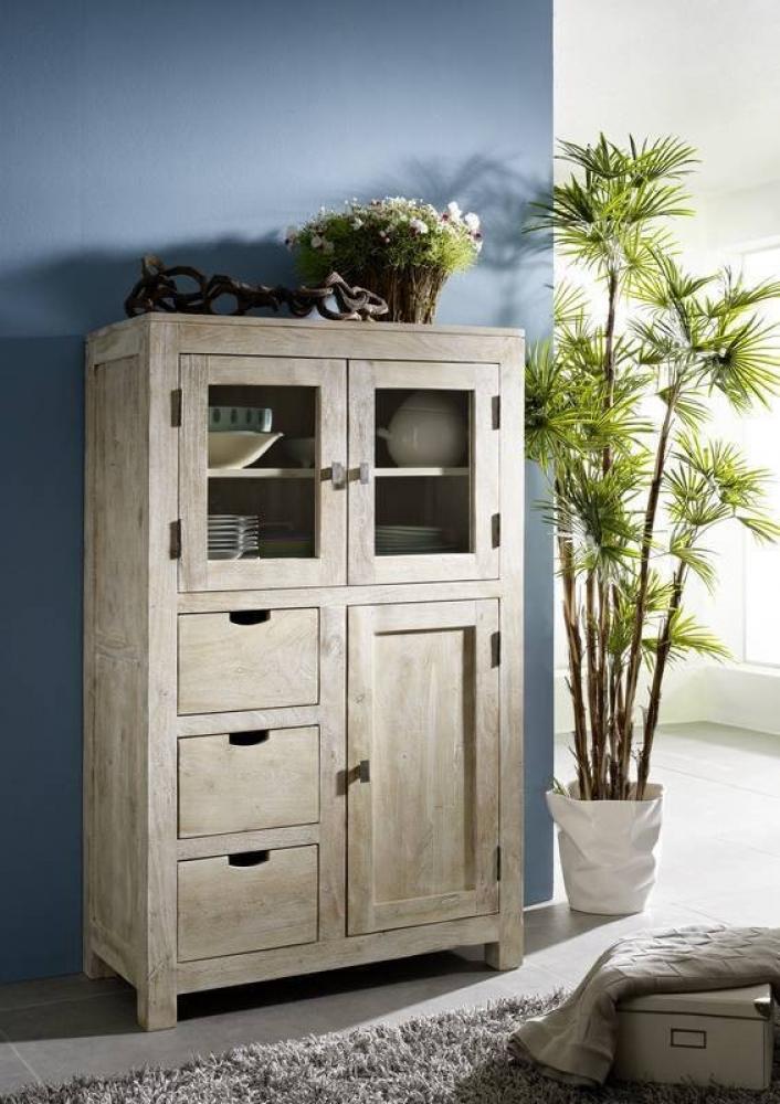 Bighome - WHITE WOOD príborník lakovaný akáciový nábytok
