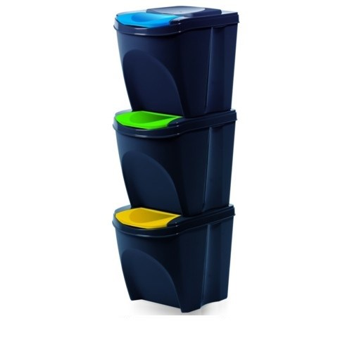 Kôš na triedený odpad Sortibox 20 l, 3 ks, antracit IKWB20S3 – S433