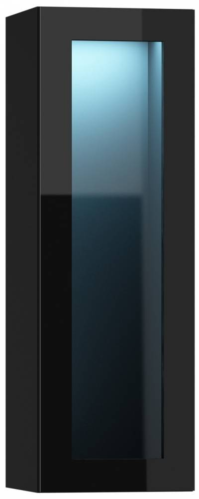 Vitrína na stenu Vigo 90 LED čierna (s osvetlením)