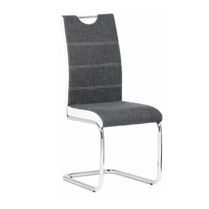 Stolička, ekokoža biela/sivá látka + chróm, IZMA