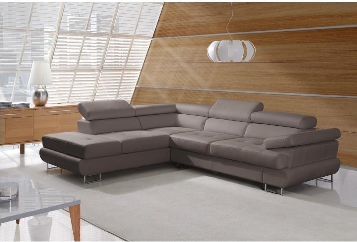 Rozkladacia rohová sedacia súprava s úložným priestorom, Ľ prevedenie, ekokoža sivohnedá, BUTON