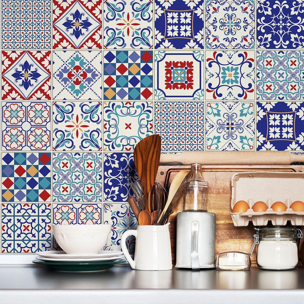 Sada 30 samolepiek na stenu Ambiance Azulejos Evra Blue, 15×15cm