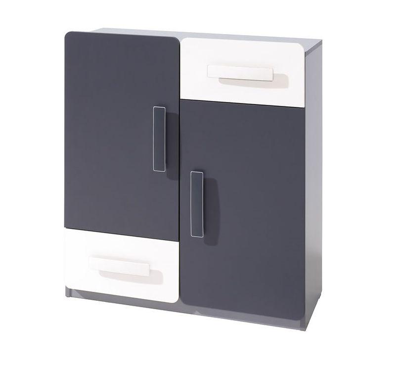 Komoda FIGARO 2D2SZ, 91x80x42 cm, grafit/biela