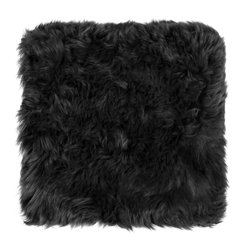 Čierny sedák z ovčej kožušiny na jedálenskú stoličku Royal Dream, 40 x 40 cm