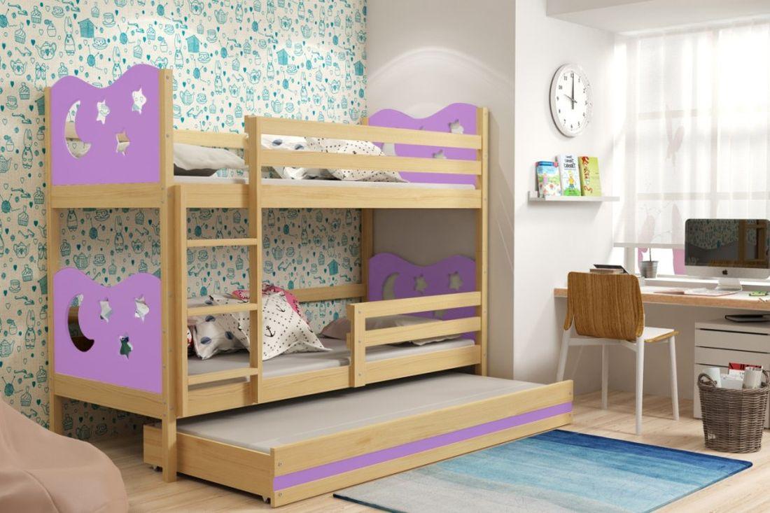 Poschodová posteľ KAMIL 3 + matrac + rošt ZADARMO, 90x200, borovica/fialová