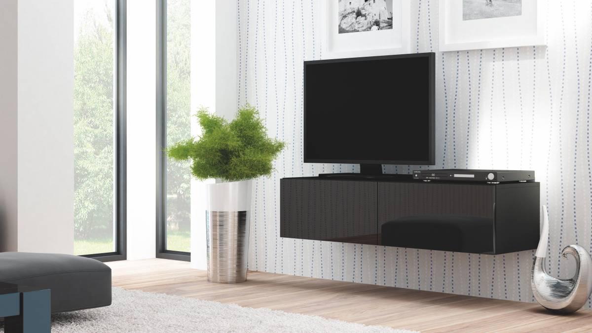 TV stolík/skrinka Livo RTV-160W (čierna + lesk čierny)
