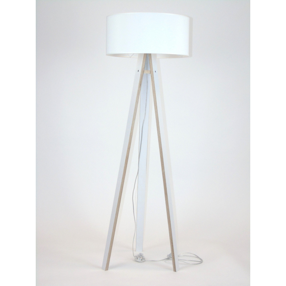 Biela stojacia lampa s bielym tienidloma transparentným káblom Ragaba Wanda