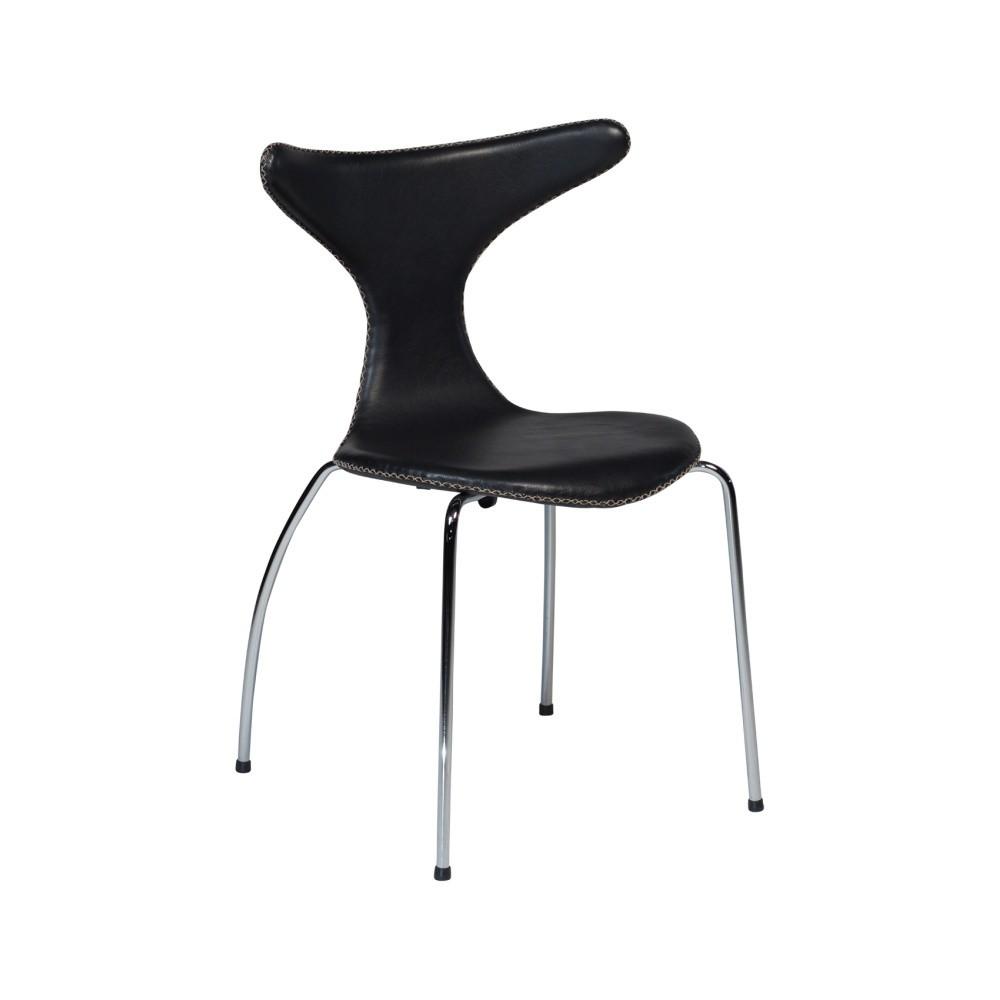Čierna kožená jedálenská stolička s pochrómovanou podnožou DAN–FORM Dolphin