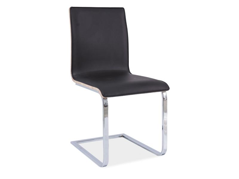 Jedálenská stolička H-690 (ekokoža čierna + dub sonoma)